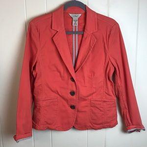 LL Bean Coral Pink 3 Button Blazer